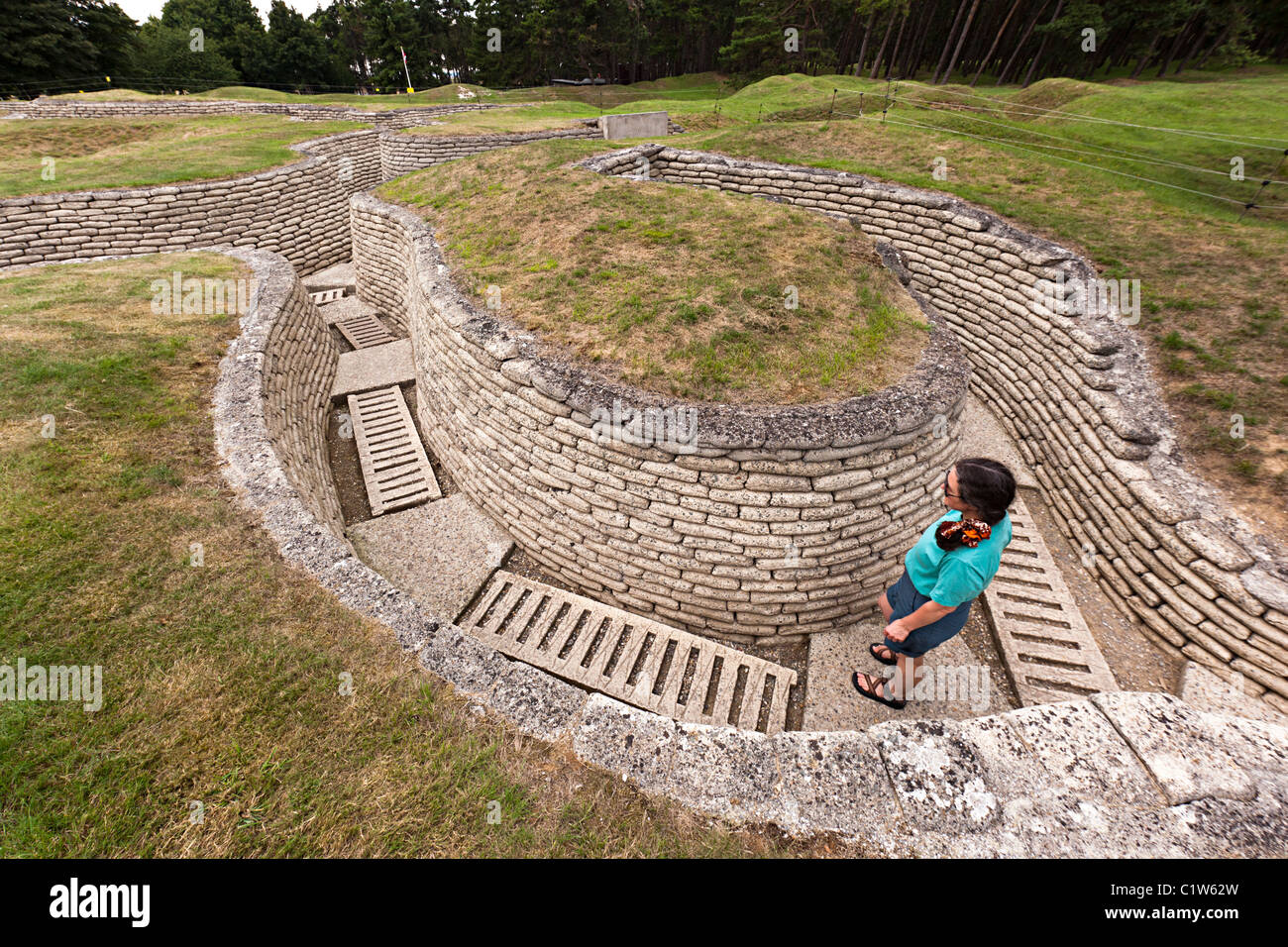 First World War trenches preserved at Vimy Ridge France - Stock Image