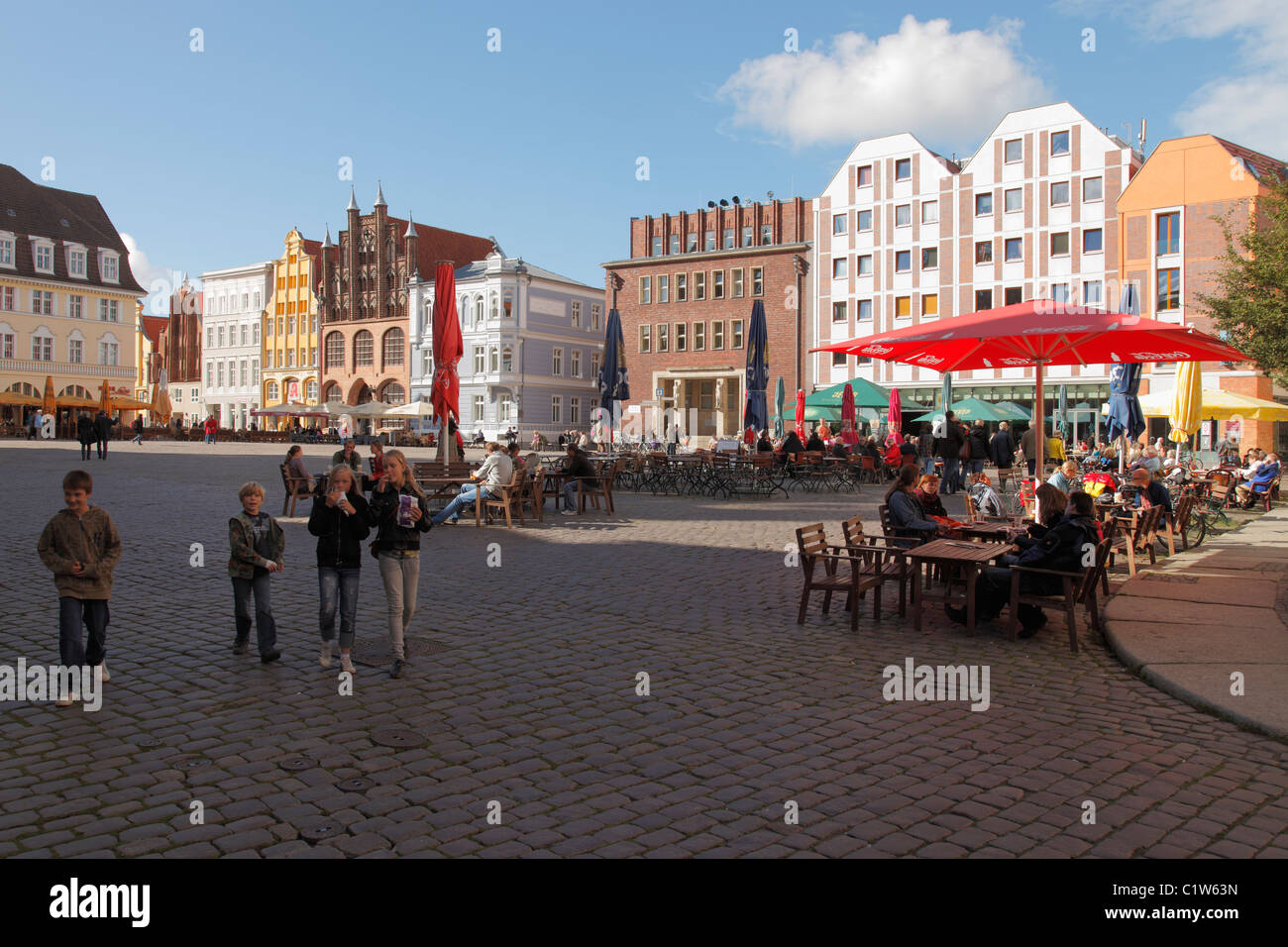 market place in Stralsund a Hanseatic City in Germany - Stock Image