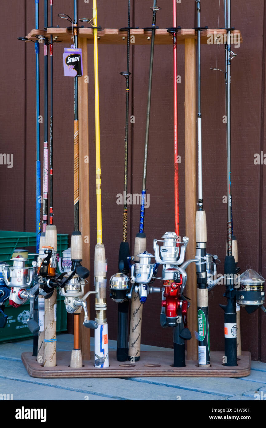 Fishing rods for sale in a store, Icy Strait Point, Hoonah City ...