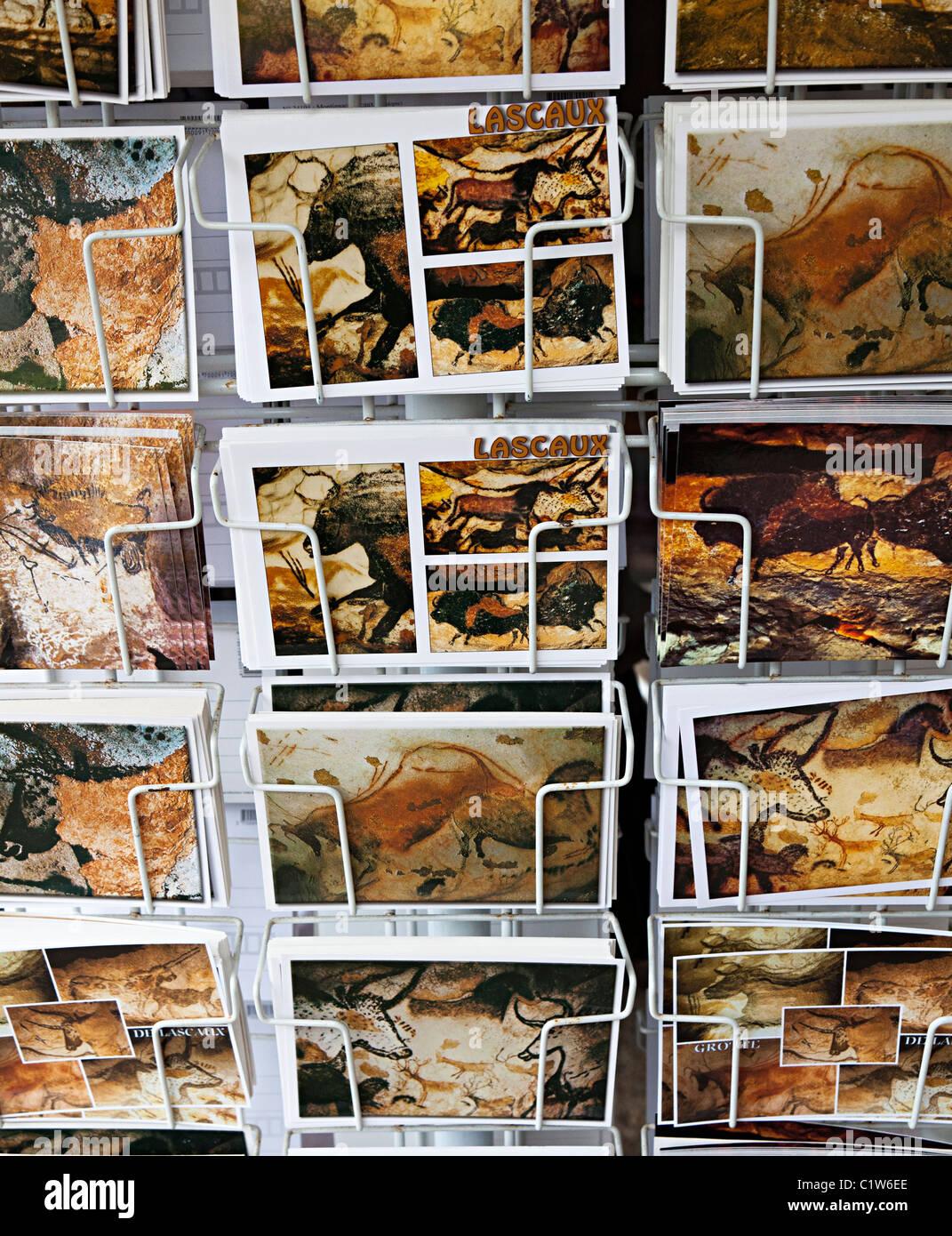 Palaeolithic cave art postcards on sale Montignac Dordogne France Stock Photo