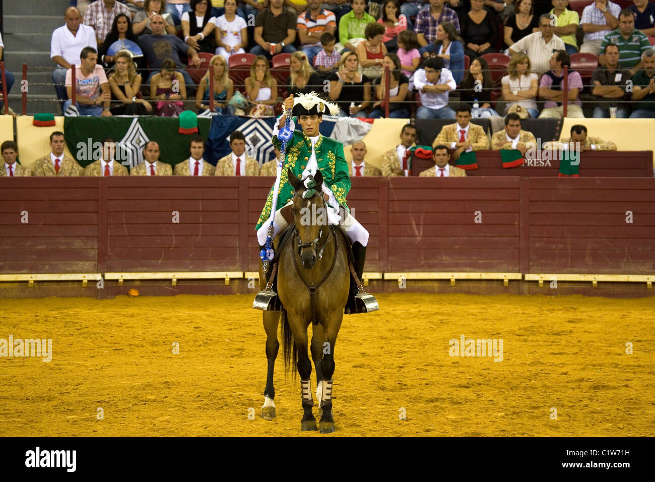 A skilled horseman (Cavaleiro) during a Portuguese style bullfight at the Campo Pequeno in Lisbon, Portugal. - Stock Image