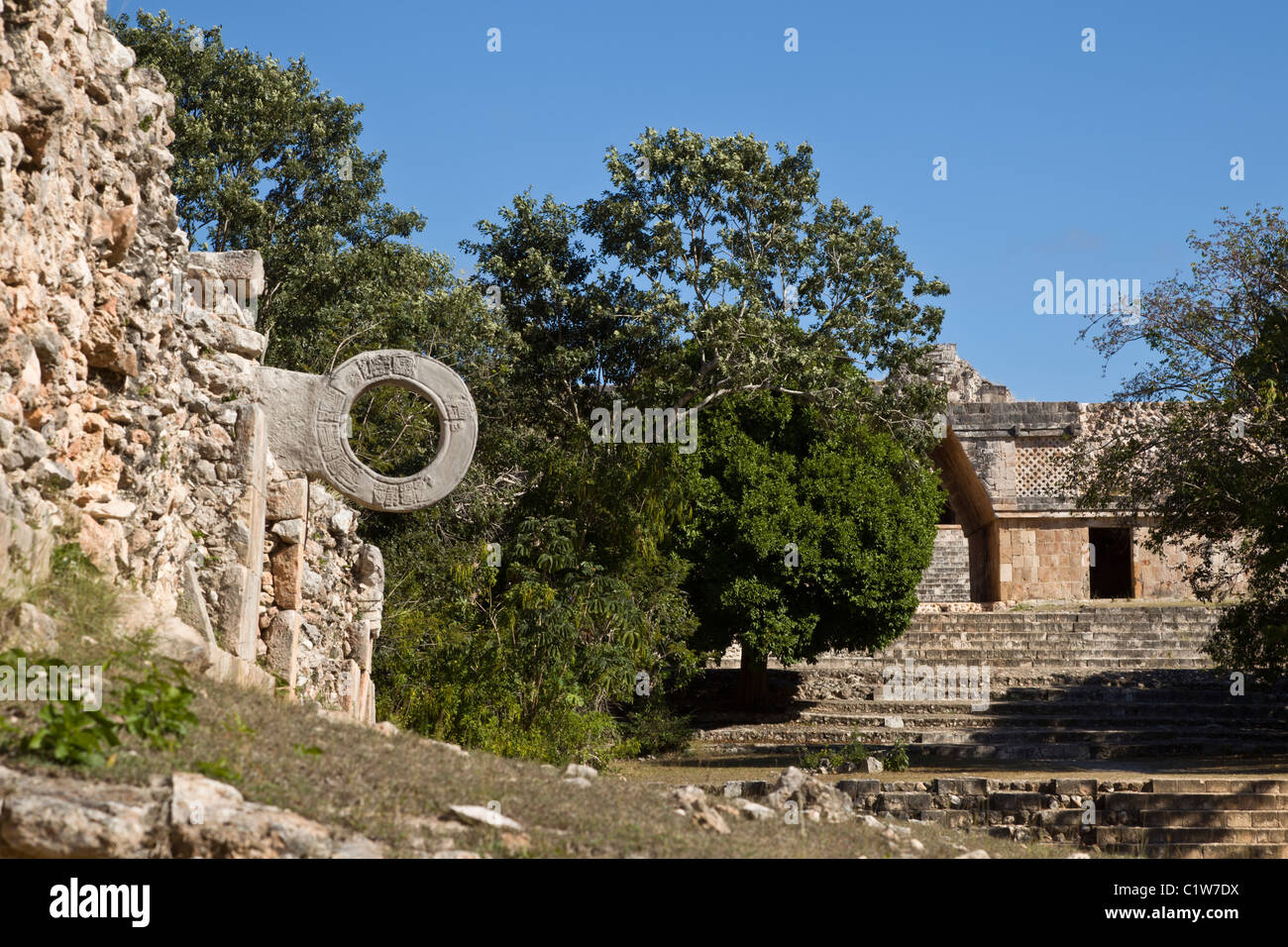 Maya ball court with marker in the Puuc style Maya ruins of Uxmal in the Yucatan Peninsula, Mexico. - Stock Image