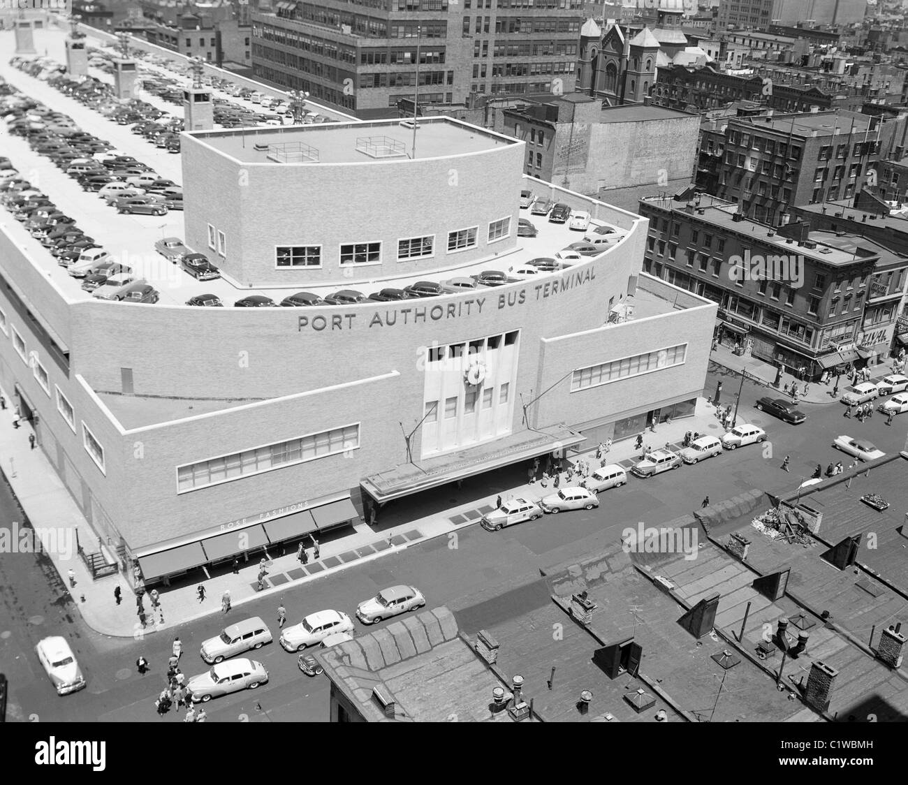 USA, New York State, New York City, View of Port Authority Bus Terminal showing parked cars on roof - Stock Image