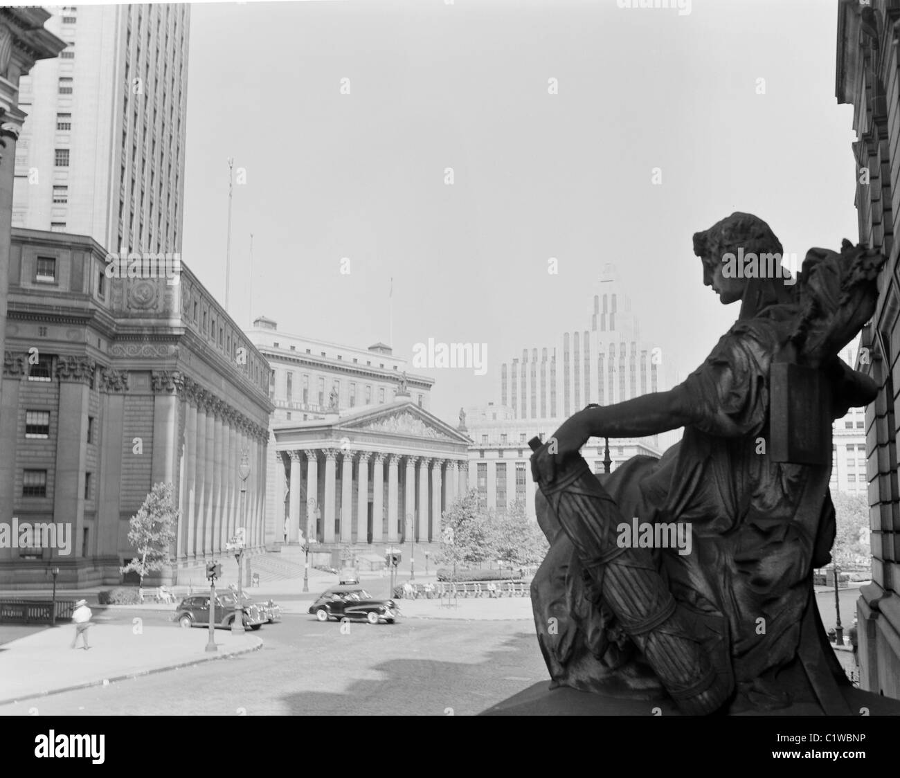 USA, New Yorks State, New York City, Foley Sqaure during sunny day - Stock Image
