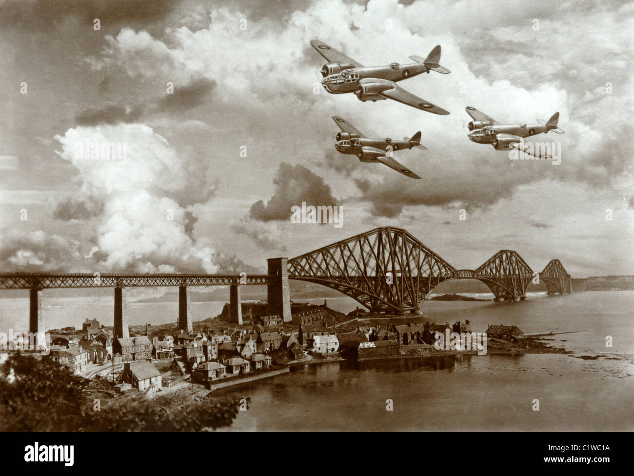 World War Two Fighter Planes over the Forth Road Bridge Scotland - Stock Image