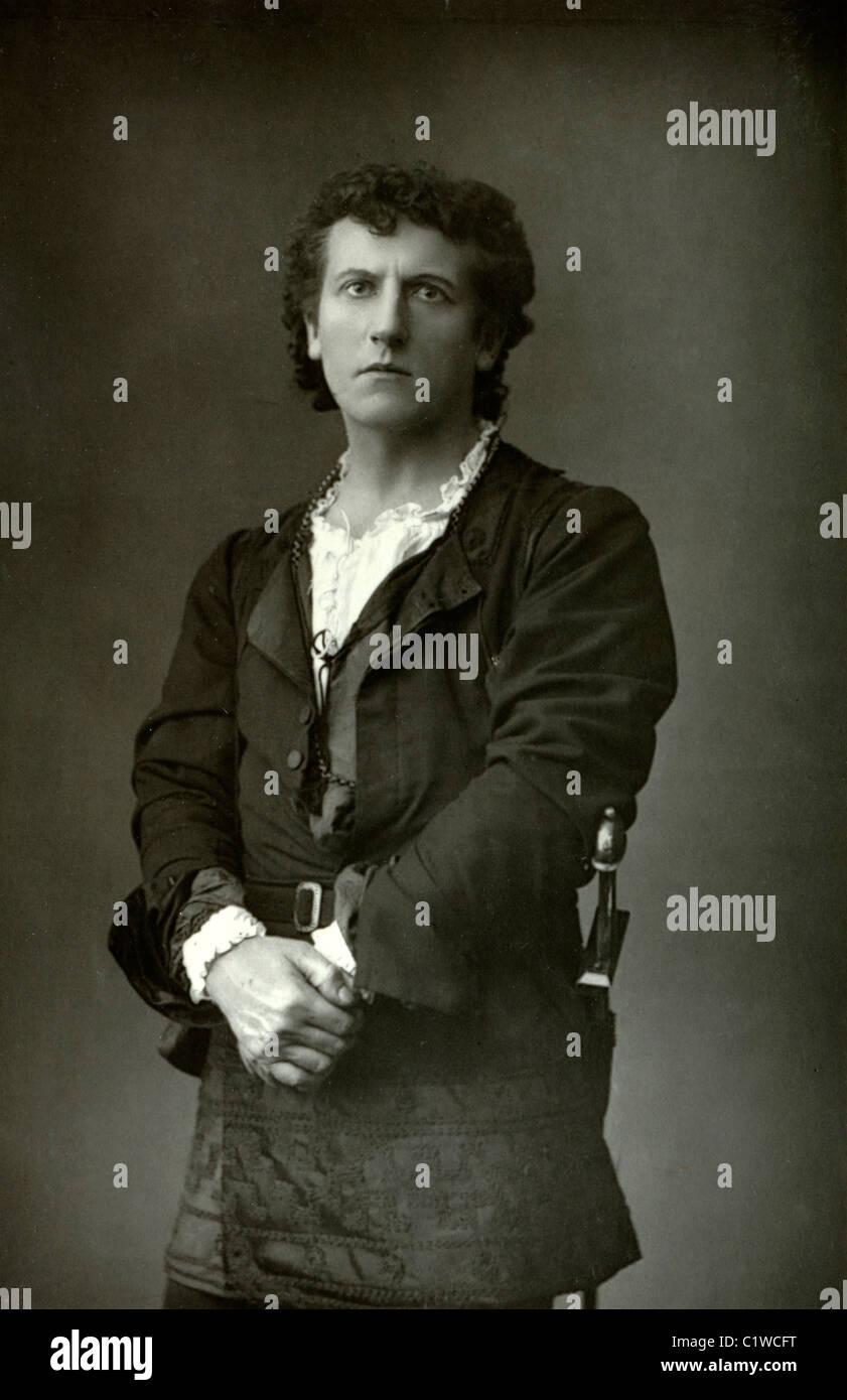Portrait of Wilson Barrett (1846-1904) English Actor & Playwright - Stock Image