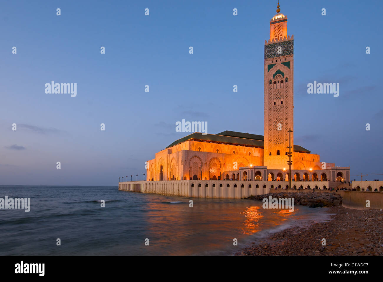King Hassan II Mosque, Casablanca, Morocco captured during a beautiful sunset - Stock Image