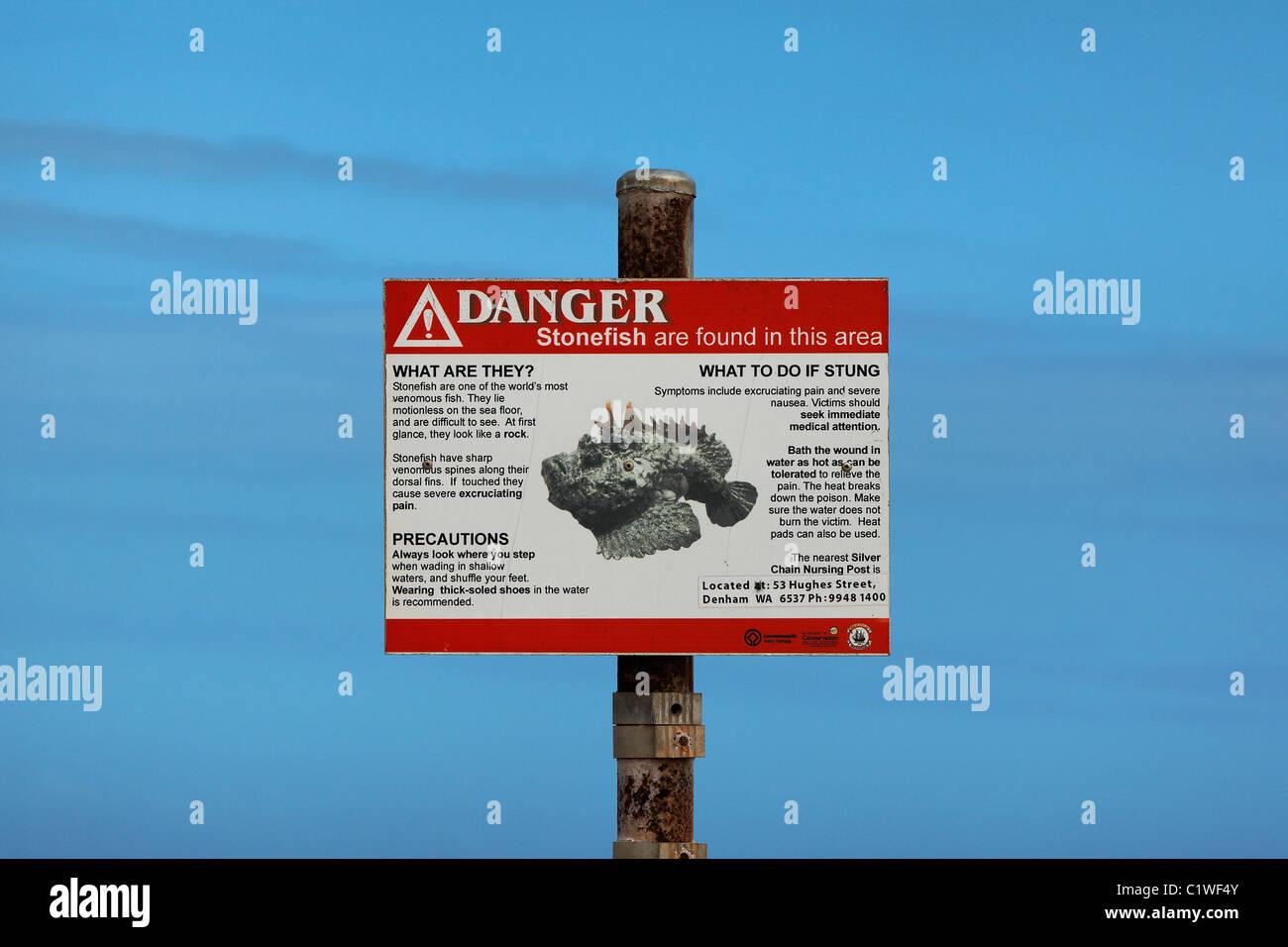 Stonefish warning sign, Shark Bay Western Australia Stock