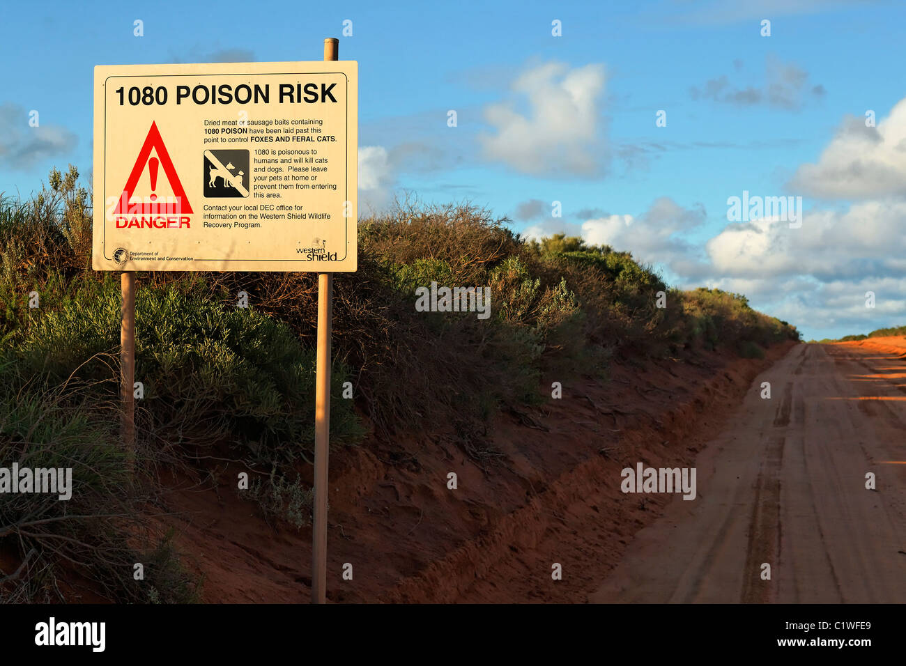 1080 Poison Risk Sign in Australian Country Area, Shark Bay Western Australia - Stock Image