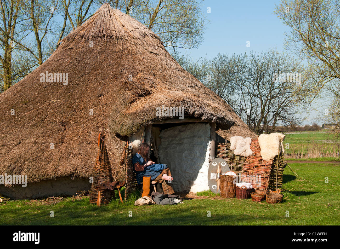 Reproduction Of A Bronze Age Round House At Flag Fen