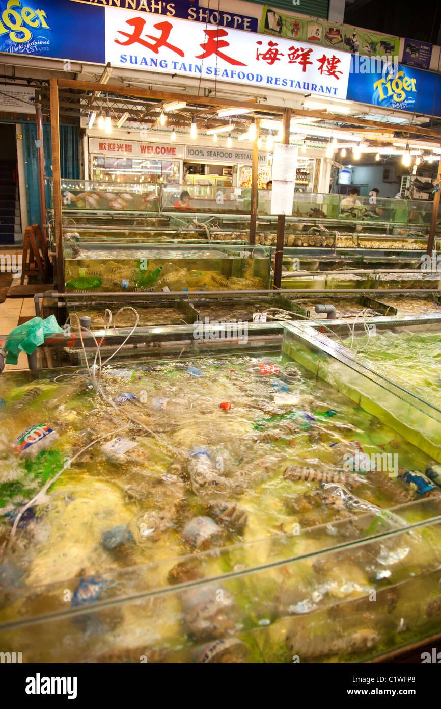 Seafood centre, Sabah, Kota Kinabalu, Malaysia - Stock Image