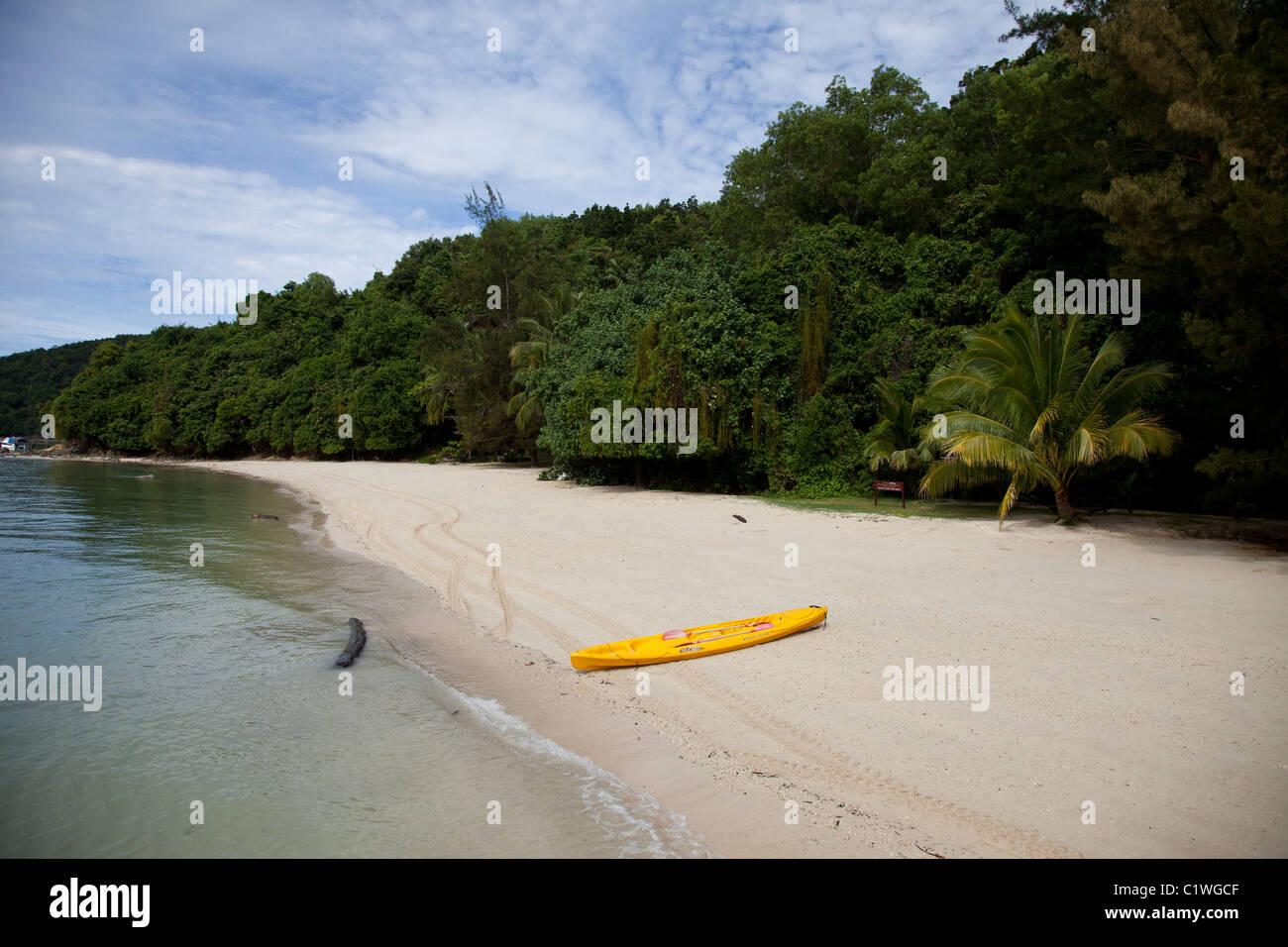 Beach on Sapi Island, Sabah, Kota Kinabalu, Malaysia - Stock Image