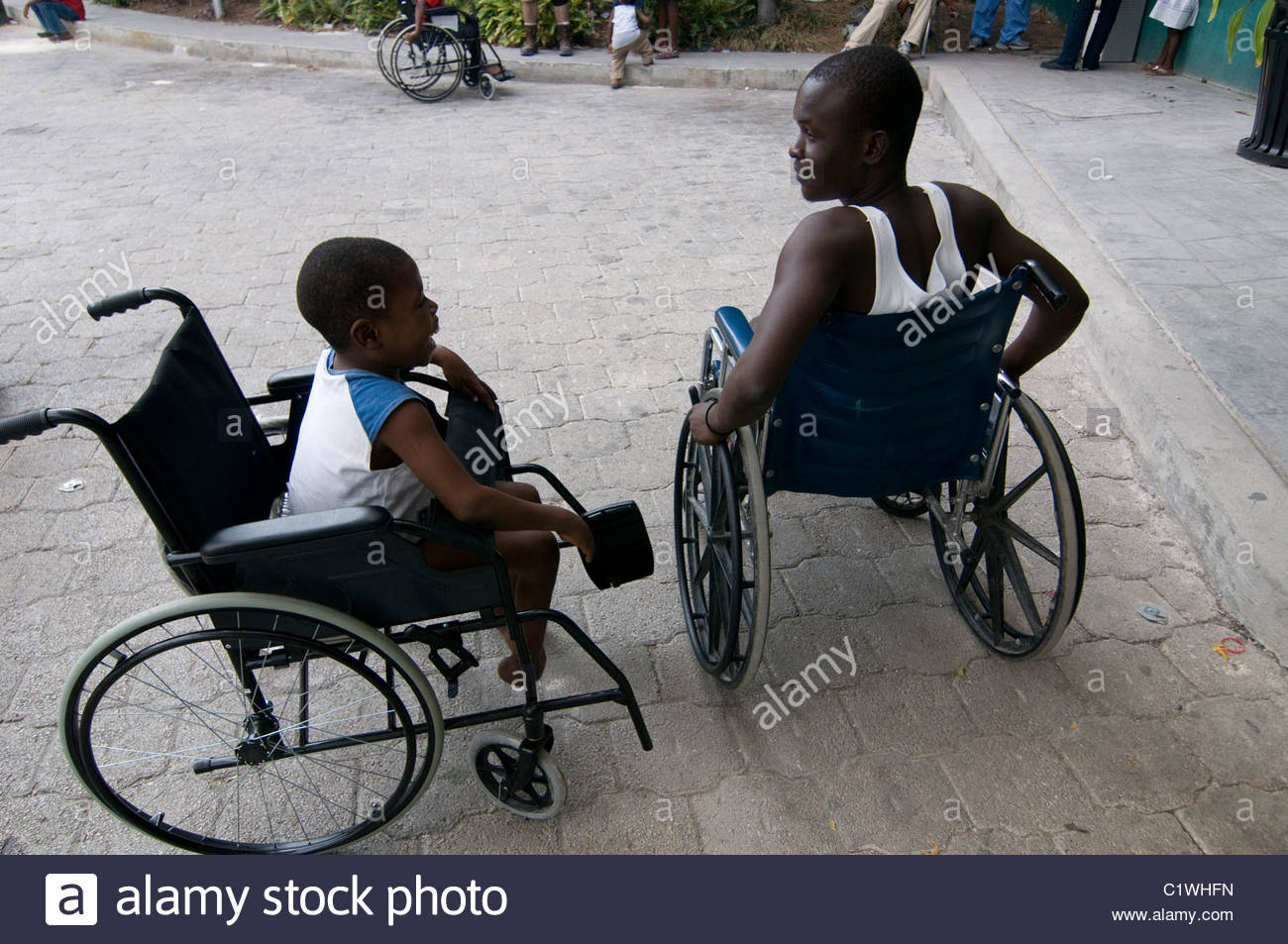 Earthquake survivors in a hospital in Port-au-Prince Haiti - Stock Image
