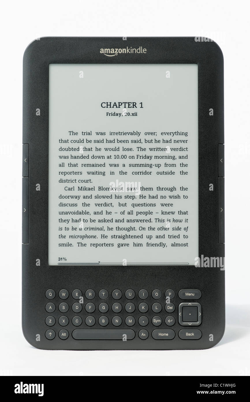 An Amazon Kindle ebook reader on a white background. This is the Kindle 3 model.  FOR EDITORIAL USE ONLY - Stock Image