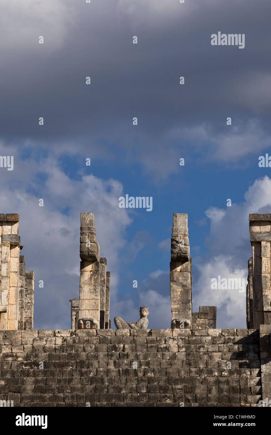 Detail of The Templo de los Guerreros (Temple of the Warriors) showing Chac Mool in Chichen Itza, Yucatan Peninsula, - Stock Image