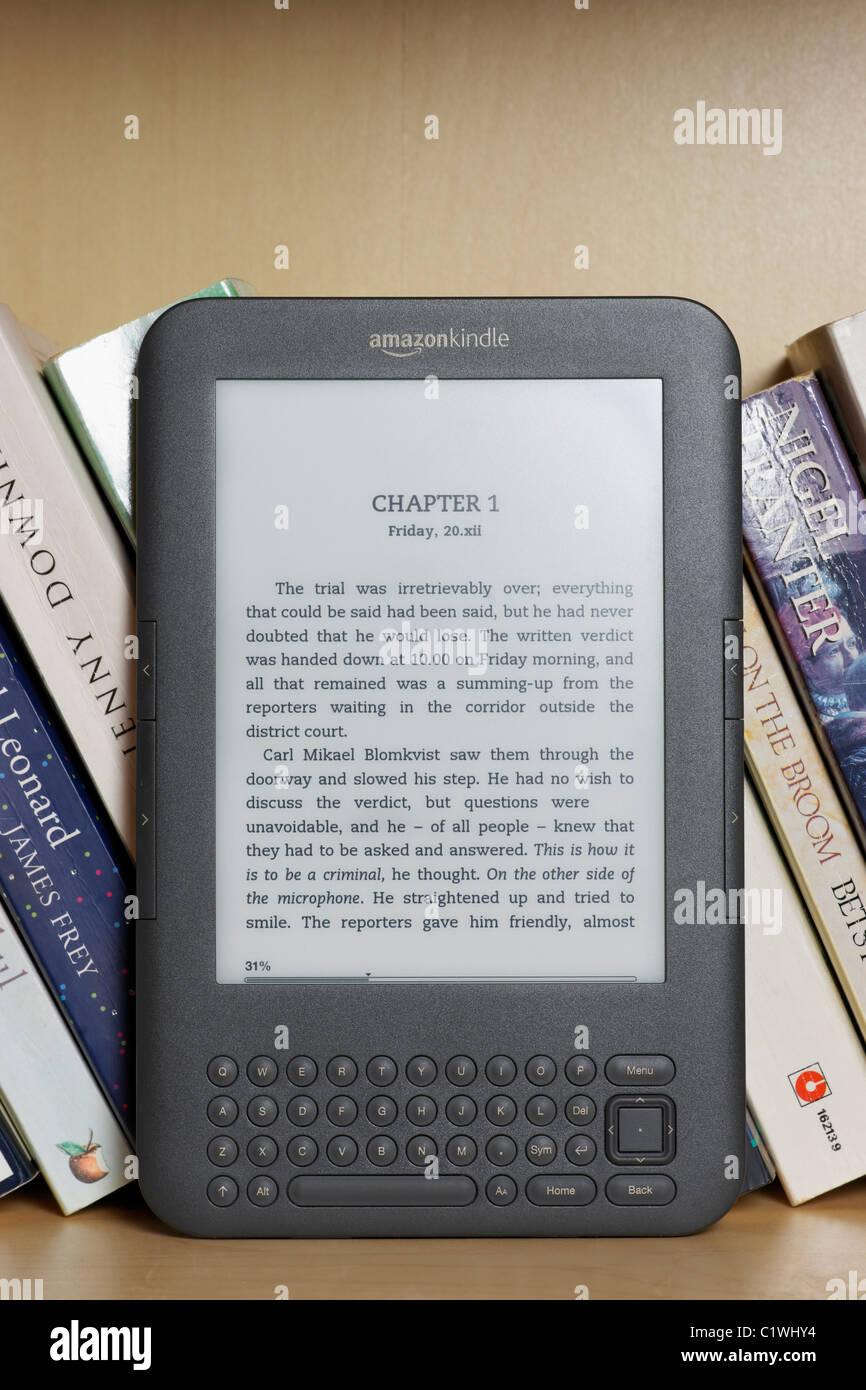 An Amazon Kindle Ebook Reader On A Bookshelf With Paperbacks
