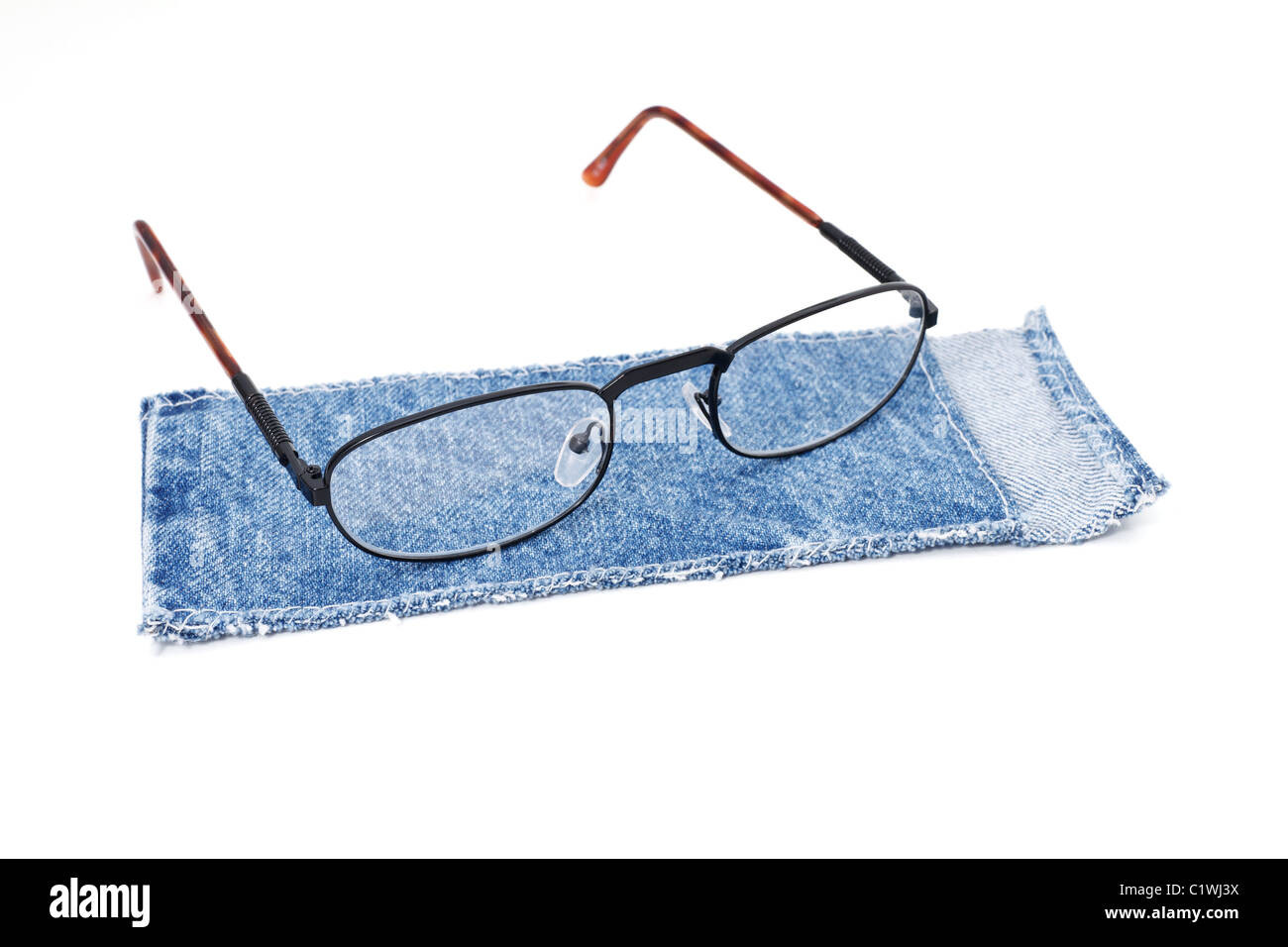 blue cloth case with spectacle isolated on white background Stock Photo