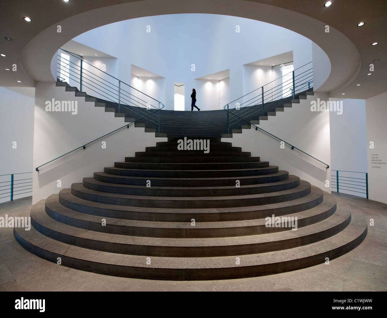 Interior hallway and stairway at  Bonn Kunstmuseum or Art Museum in Germany - Stock Image