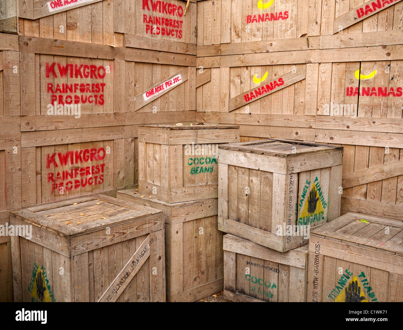 Wooden boxes containing rain forest products at the Eden project St Austell  Cornwall UK - Stock