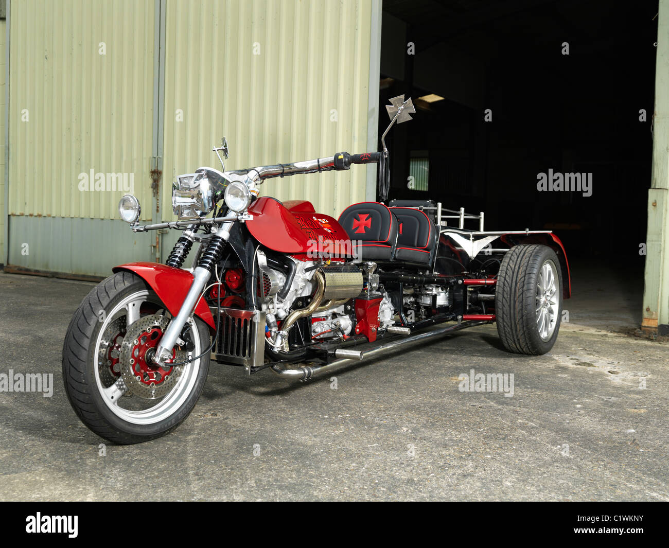 V6 engined custom trike - Stock Image