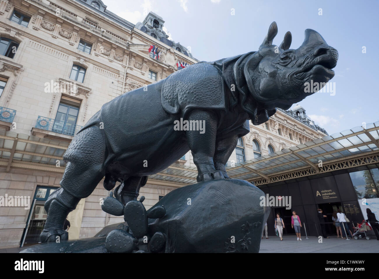 France,Paris,Musee d'Orsay,Rhinoceros Sculpture by Alfred Jacquemart - Stock Image