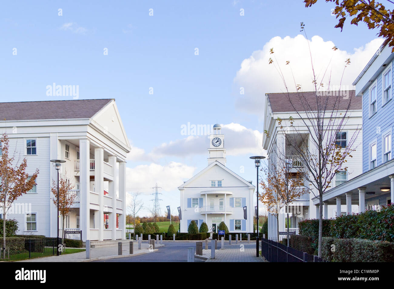 The Hamptons, a development of homes in Worcester Park, South London in New England style - Stock Image