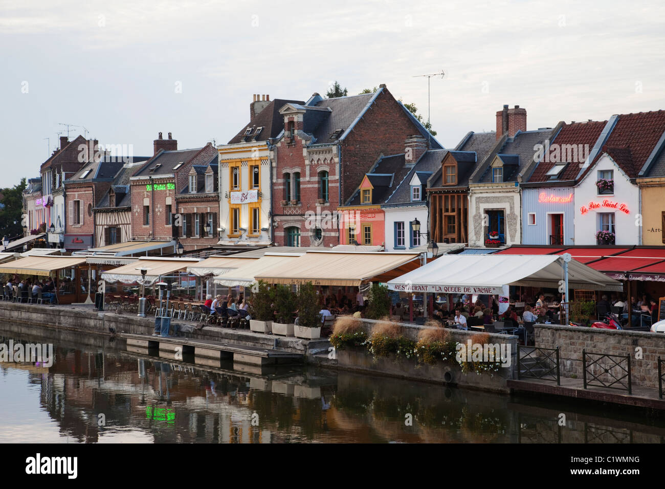 Buildings at the waterfront, Amiens, Somme, Picardy, France Stock Photo