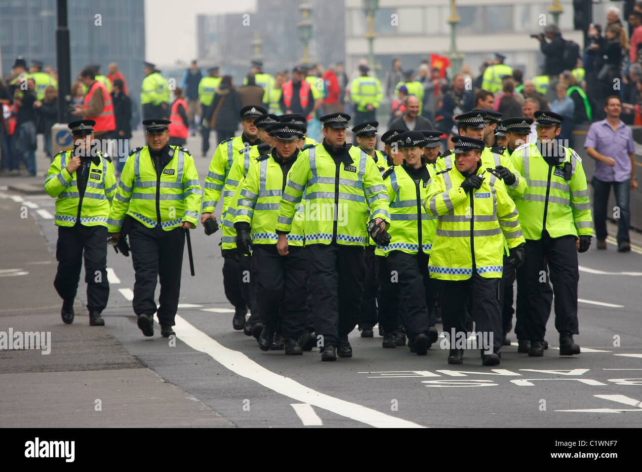 Police parade to take up positions on the route of the  ' Alternative Way '  TUC March 26th March, 2011 - Stock Image