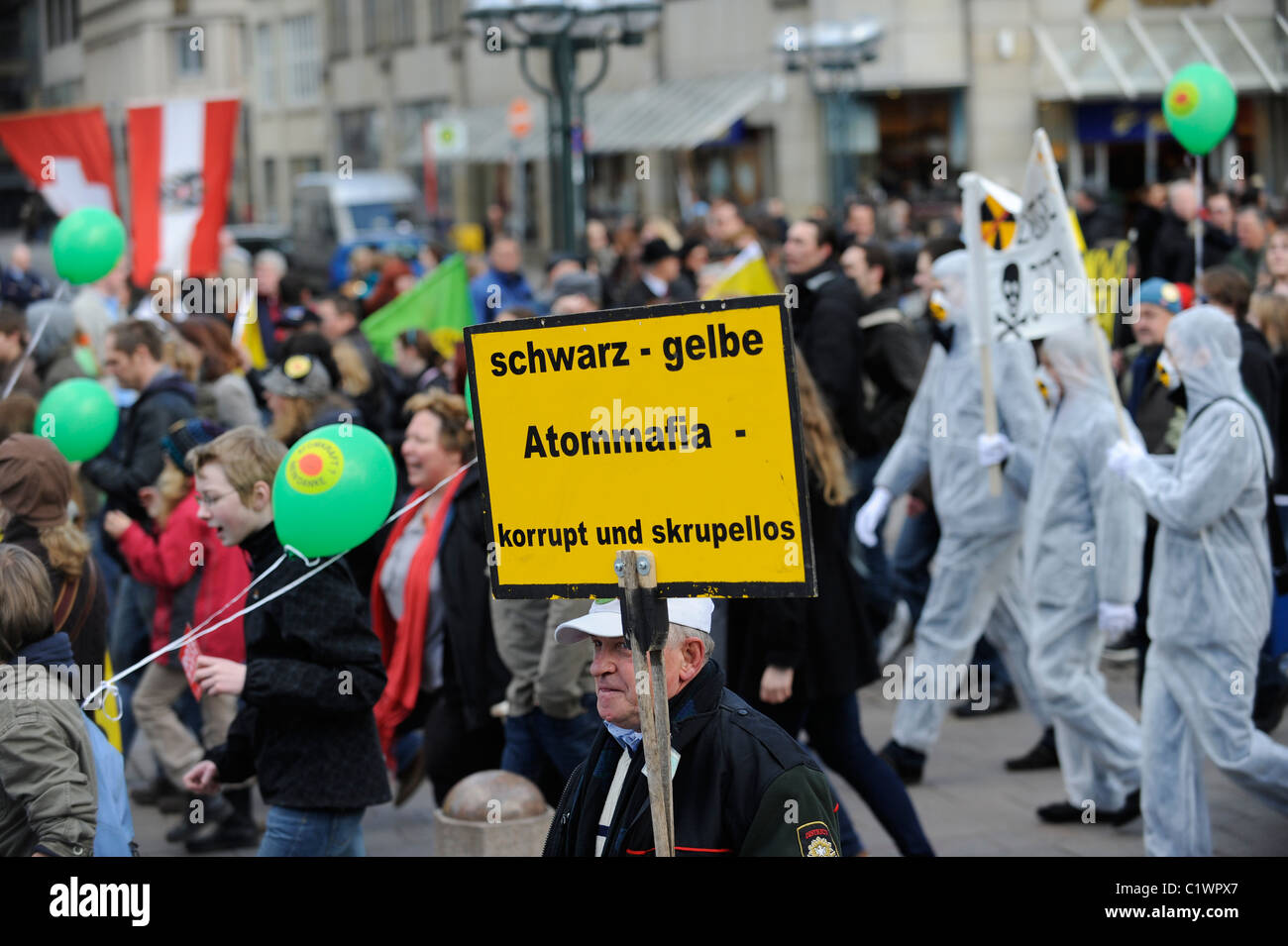 GERMANY Hamburg 2011 march 26 , large rally and public meeting at townhall market against nuclear power after accident - Stock Image