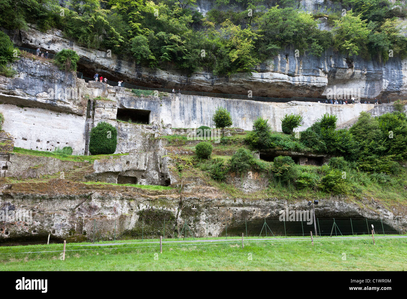 Cliff dwellings at Roque St Christophe Dordogne France - Stock Image