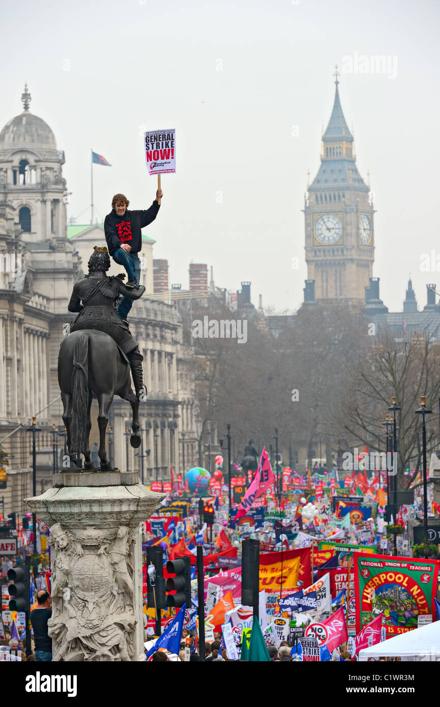 Protesters marching in London against public expenditure cuts -- March for the Alternative -- a rally organized - Stock Image