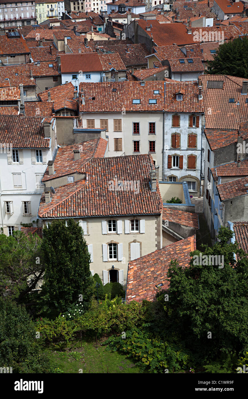 Houses with red tile roofs Foix department Ariege France - Stock Image