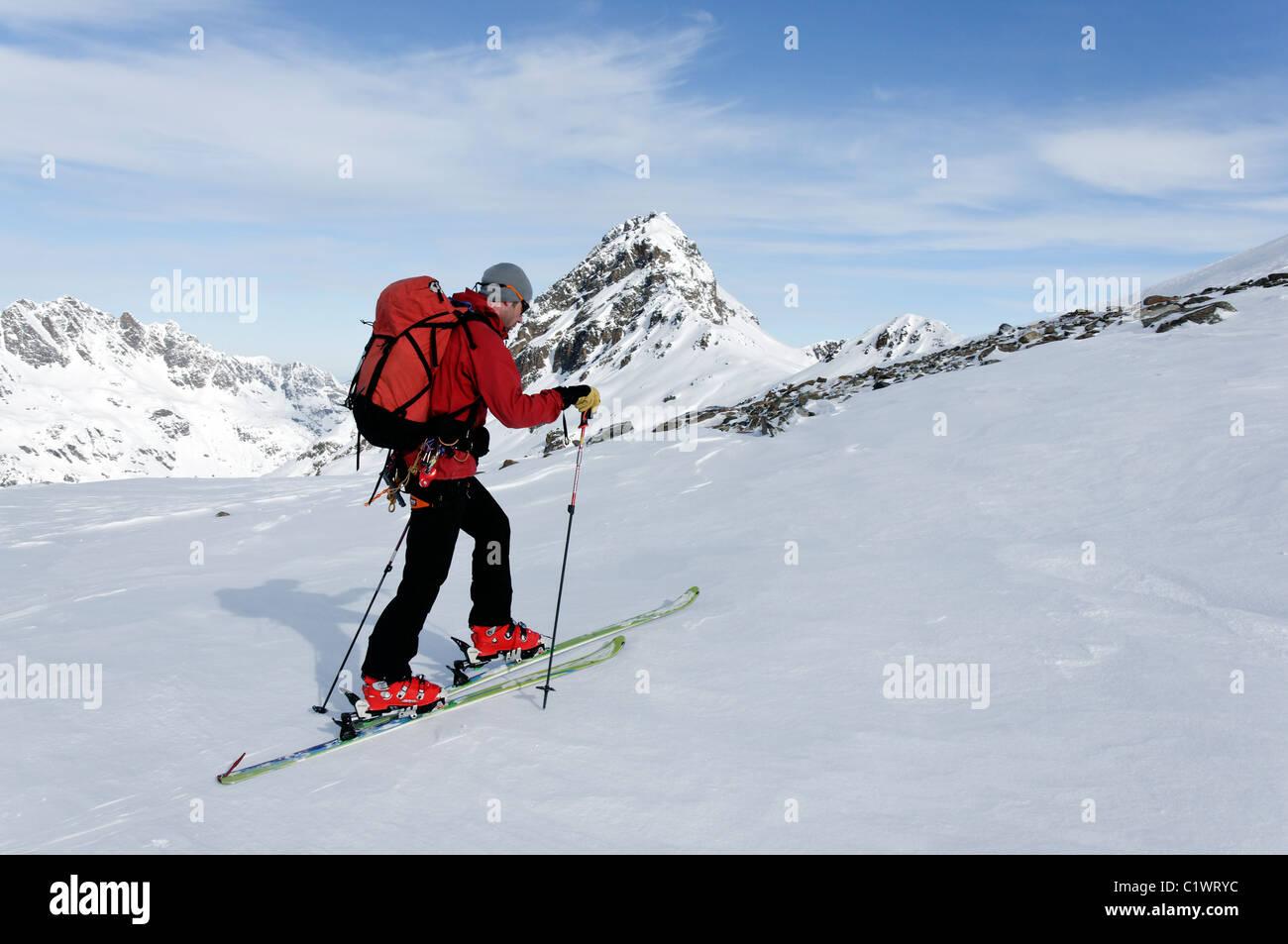 Ski touring in the Silvretta region of Austria Stock Photo