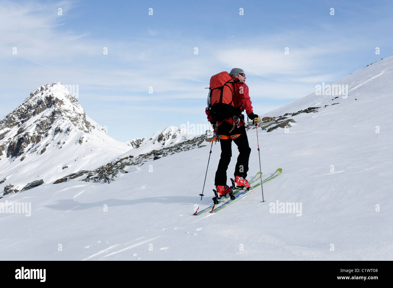 Ski touring in the Silvretta region of Austria Stock Photo