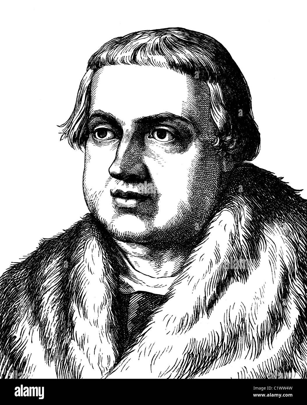 Digital improved image of Conrad Peutinger, German lawyer, 1465 - 1547, historical illustration, portrait, 1880 - Stock Image