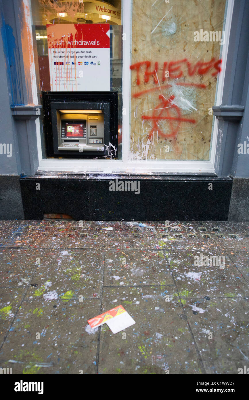 Vandalism to HSBC bank property the morning after the TUC-organised march against  anti-government cuts to Britain's - Stock Image