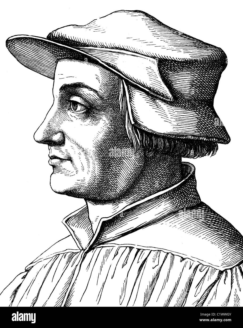 Digital improved image of Huldrich Zwingli or Huldreich Zwingli, Zurich reformer, historical illustration, portrait, - Stock Image