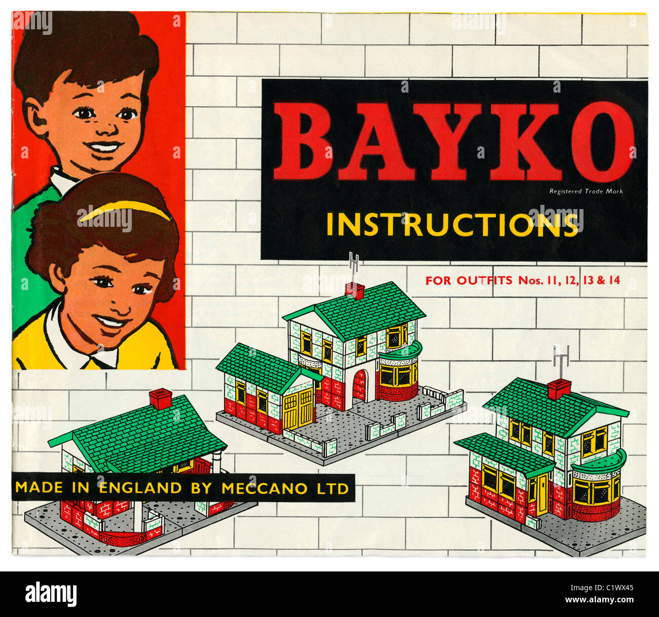 Bayko Building Set (Outfit 14) instruction book, c. 1966. - Stock Image