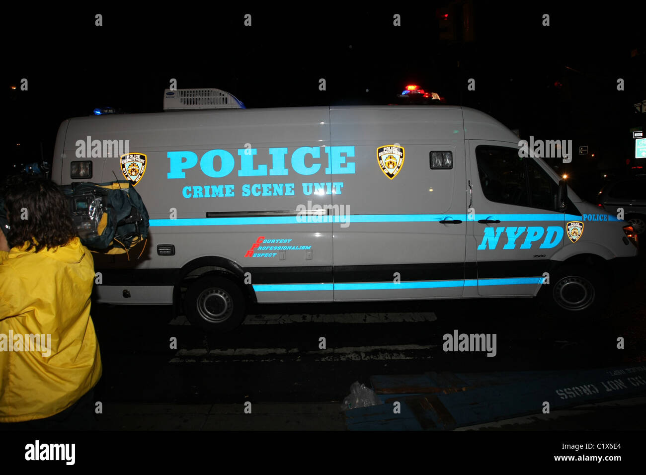 A police crime scene unit van outside the New York City apartment where Adam 'DJ AM' Goldstein was found - Stock Image
