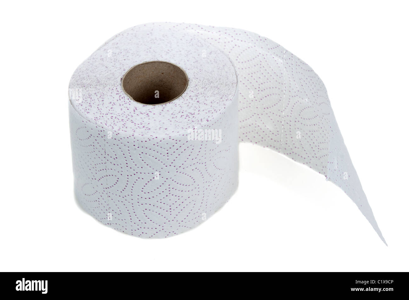 Perforated toilet paper in roll on white background - Stock Image