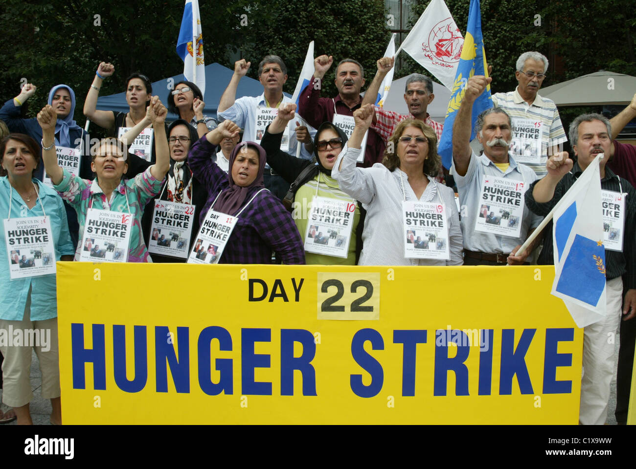 Day 22 of a hunger strike by Iranian Americans who are protesting against the alleged killing of Iranian refugees Stock Photo