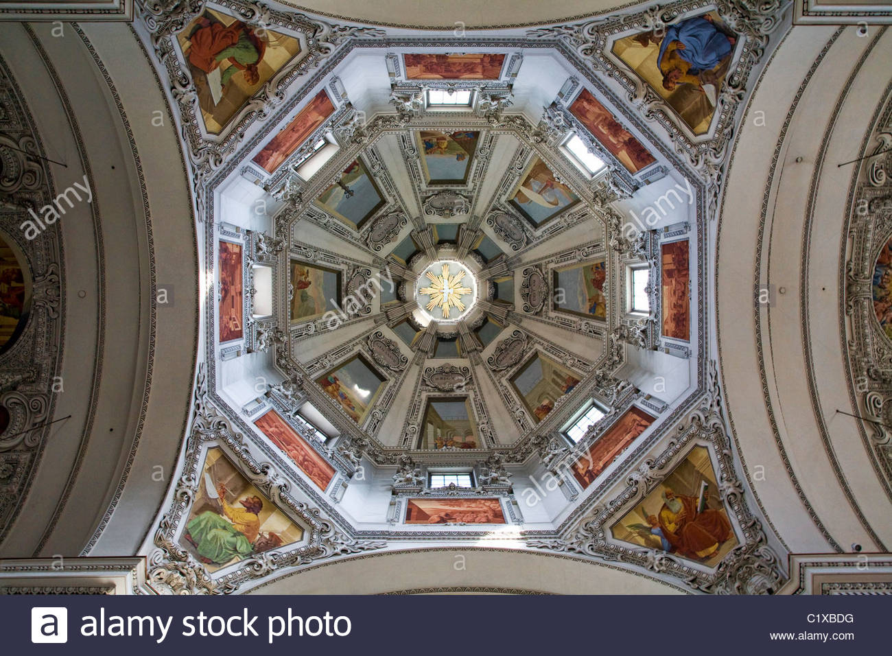 The dome ceiling of the Dom zu Salzburg (Cathedral of Salzburg), Austria. Stock Photo