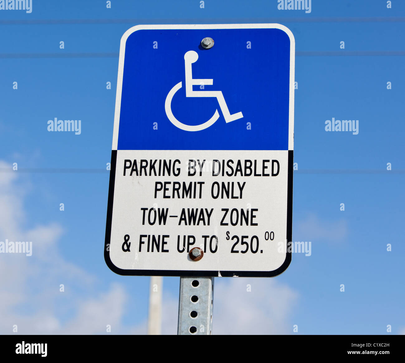 Parking disabled permit only sign concept, USA - Stock Image
