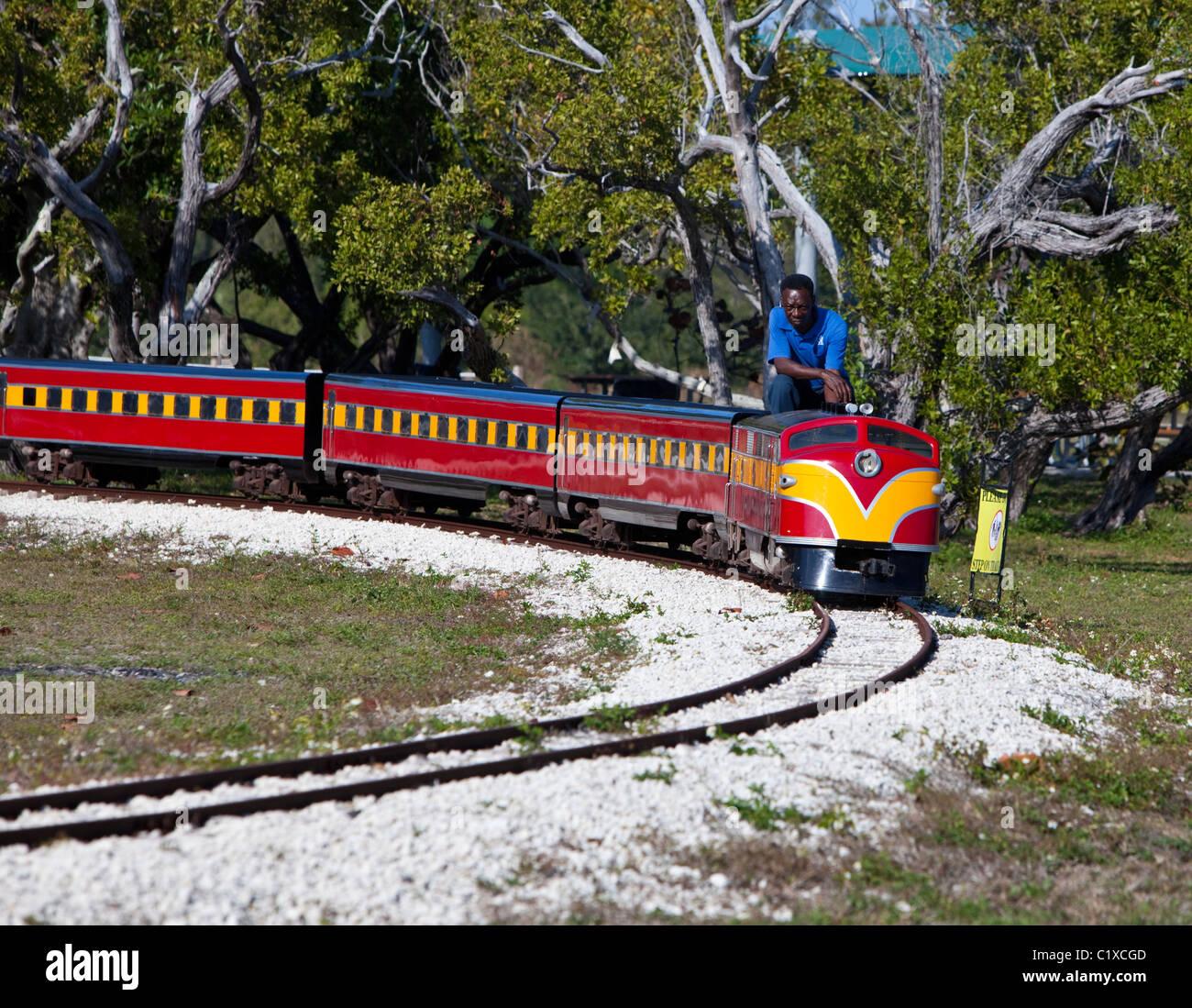 Man on electric train Stock Photo