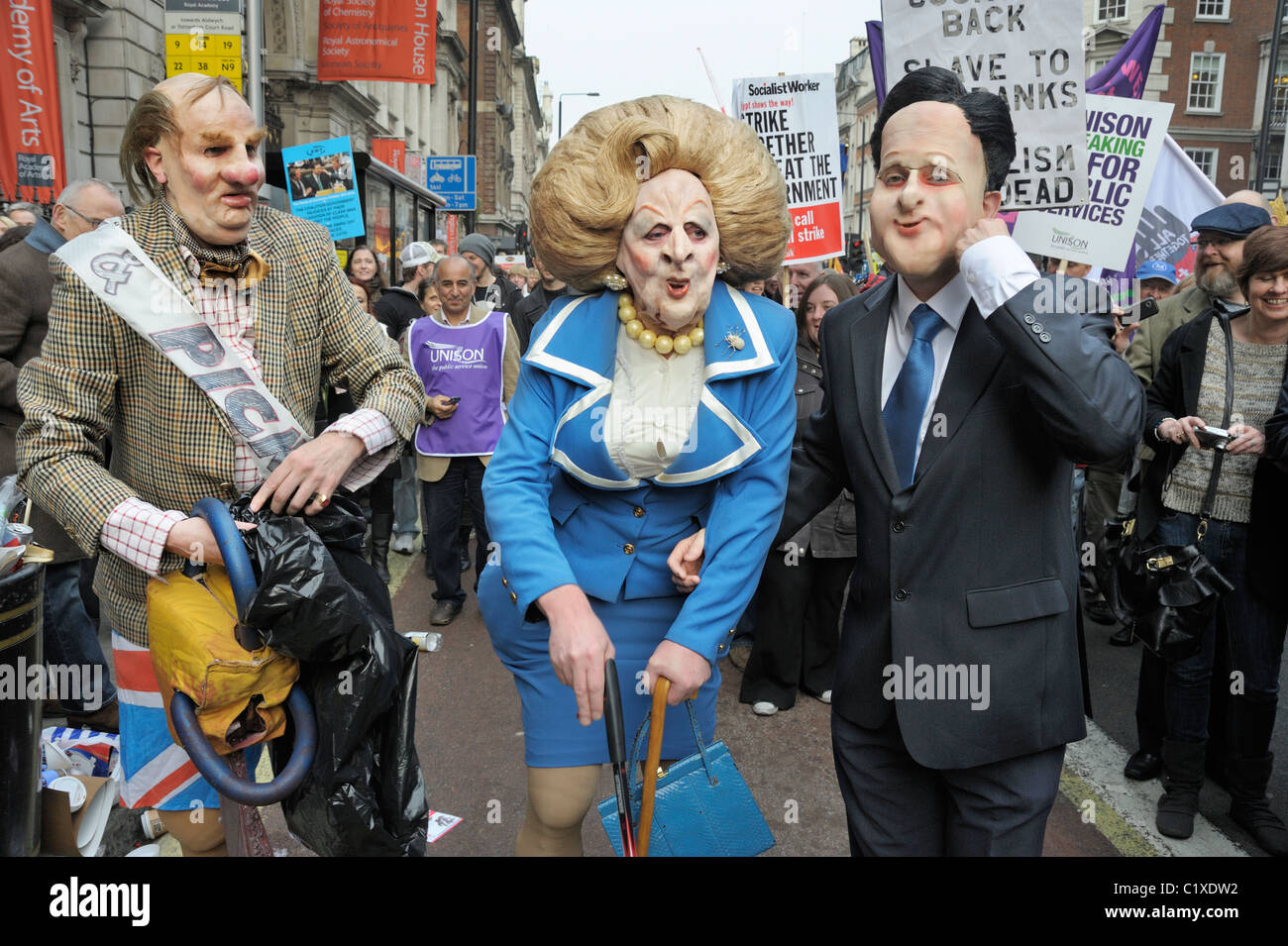 Margaret Thatcher and David Cameron at TUC Anti-Spending Cuts March, London 26th March 2011 - Stock Image