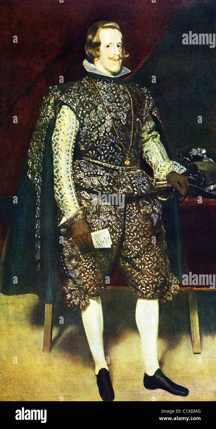 This portrait of Spain's King Phillip IV (1661-1665) was done by Diego Velazquez around 1631-1632. - Stock Image