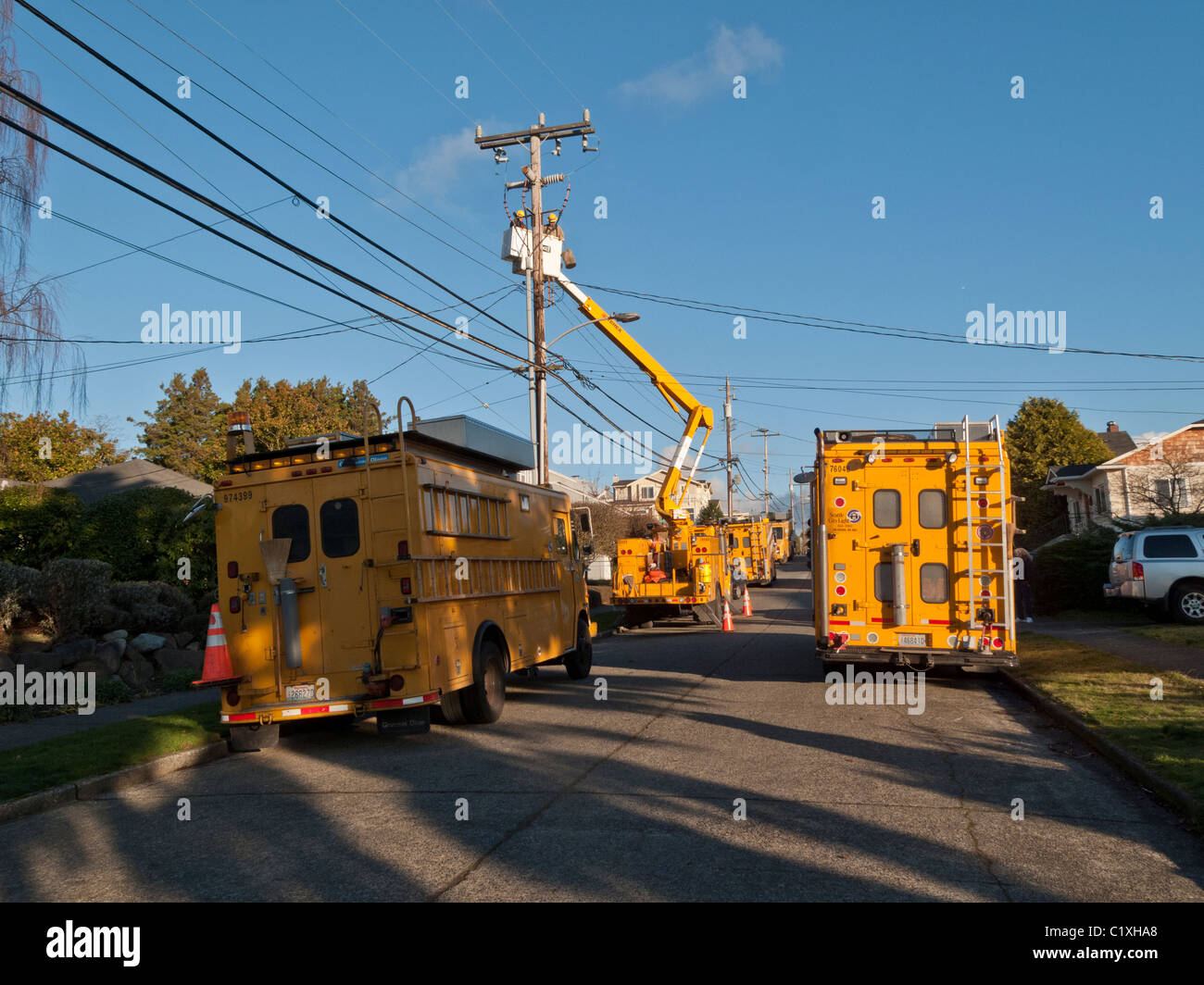 Five Seattle City Light Utility Trucks Work On Repairing Electrical Power  Outage, Seattle, Washington