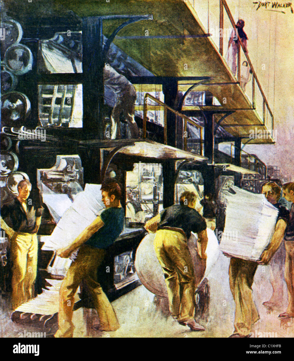 This 1903 illustration by T. Dart Walker shows the press room of a daily newspaper in the U.S. at the time. - Stock Image