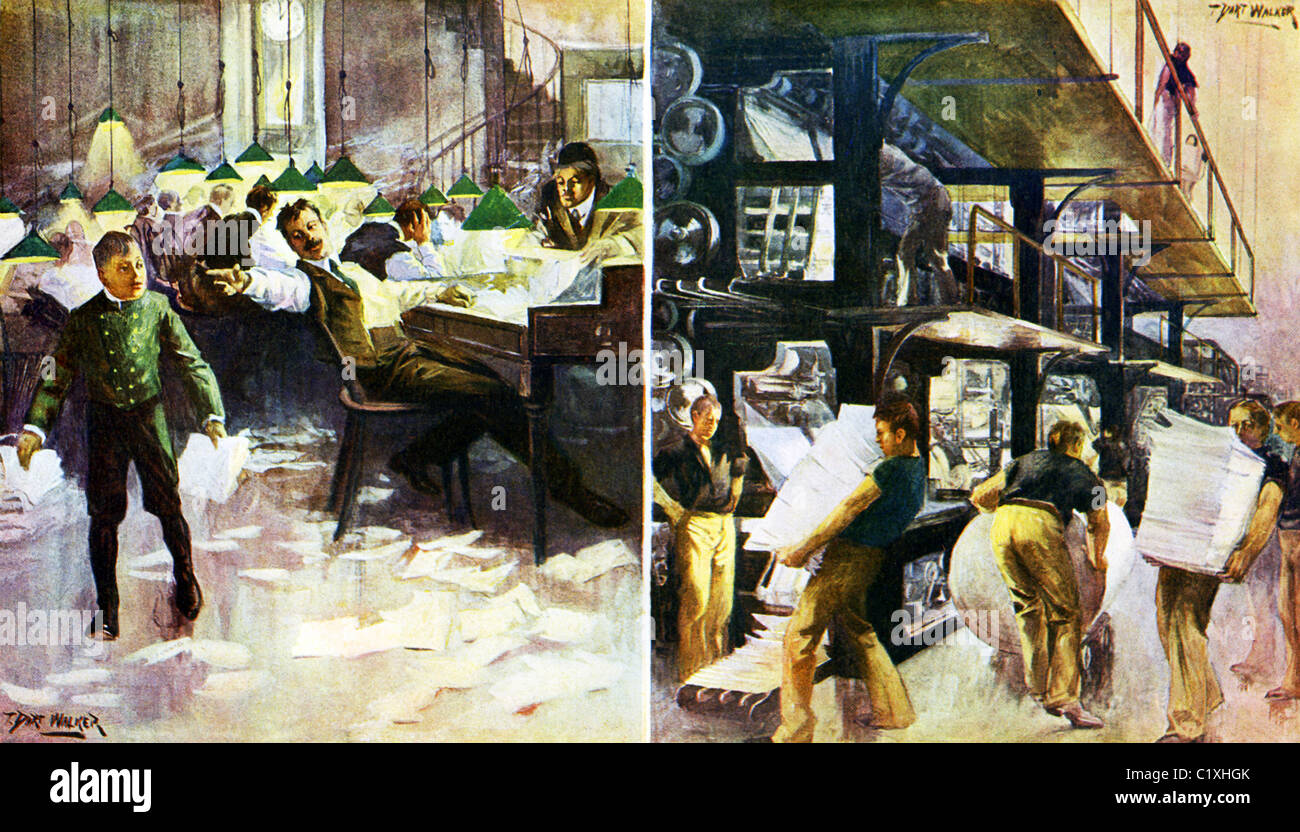 This 1903 illustration by T. Dart Walker shows the editorial and press rooms of a daily newspaper in the U.S. at - Stock Image