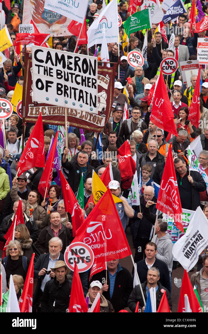 Anti-Cuts March in Central London, trade union protest - Stock Image